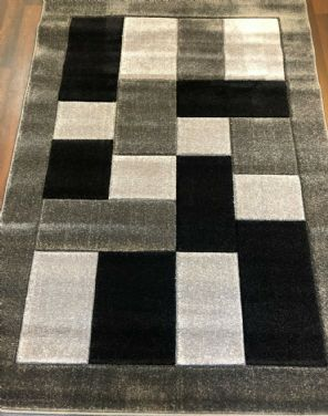 BLOCKS RANGE WOVEN RUGS HAND CARVED APROX 6X4FT 120X170CM GREY/BLACK GREAT RUGS.